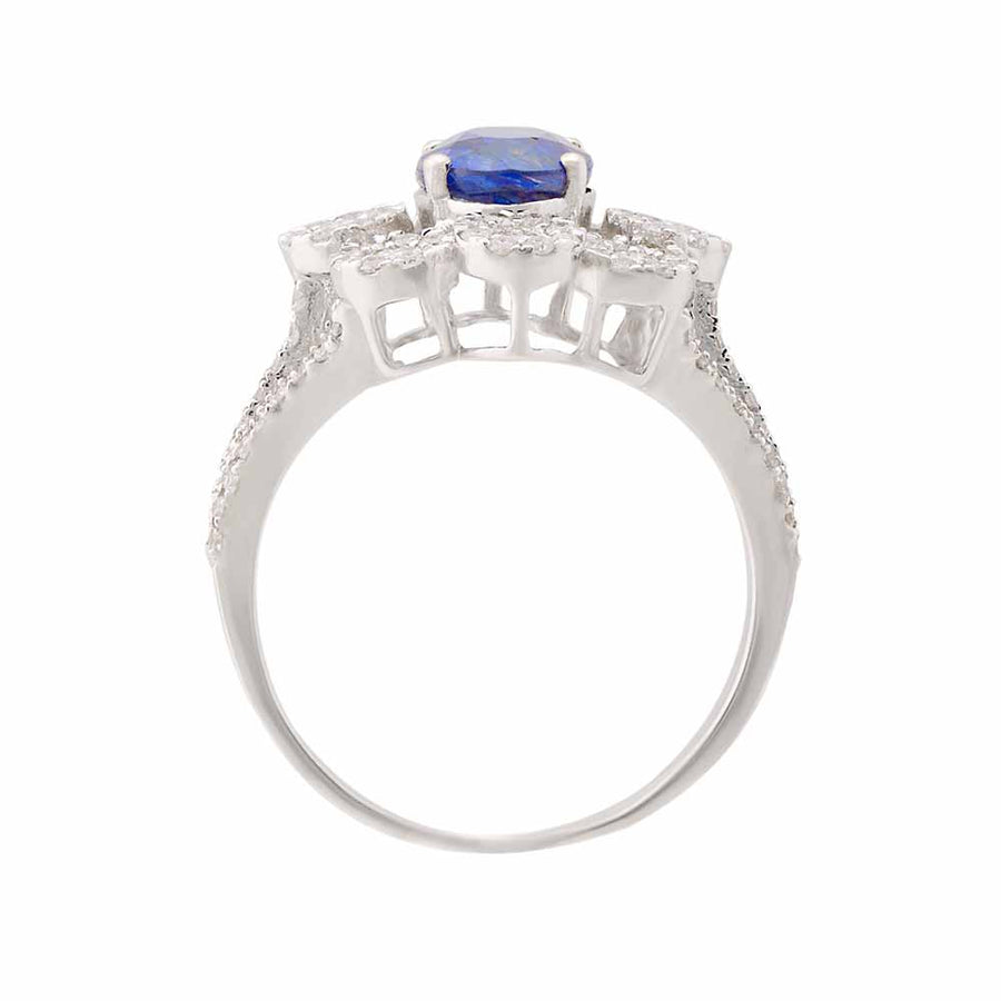 Diamond Sapphire Ring Top View