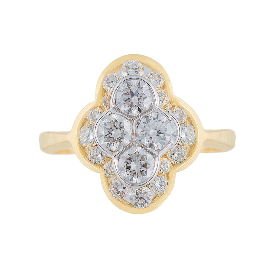 Multi Stone Solitaire Diamond Ring In Yellow Gold