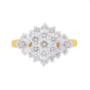 Multi Stone Diamond Ring Set In 21 Kt Yellow Gold