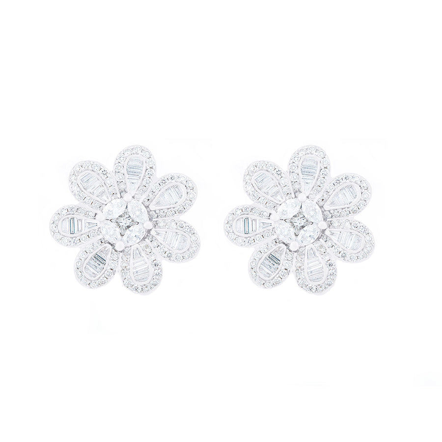 FLORAL SHAPE DIAMOND EARRINGS