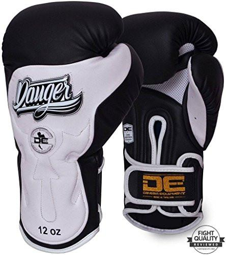 Danger Black / White Deluxe Ultimate Fighter Sparring Boxing Gloves