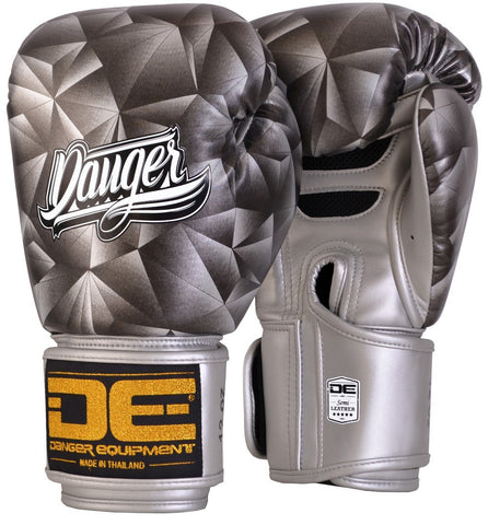 Boxing Gloves - Danger Silver Crystal Boxing Gloves