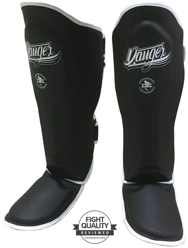 Image of Danger Black with White Piping Super Max Sparring Shin Pads / Guards