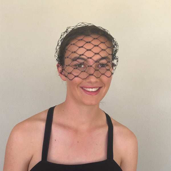 Black Honeycomb Veiled Headband