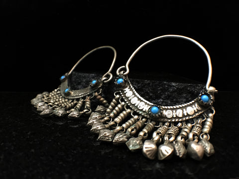 Antique Kasmiri Brass Bell Charm Hoops