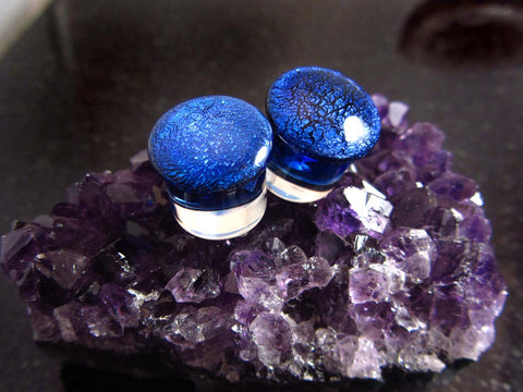 "Industrial Strength 1/2"" Regular Dichro Plugs - Cobalt"
