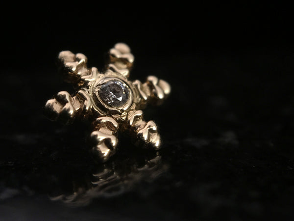 Body Gems Yellow Gold Snowflake Threaded End