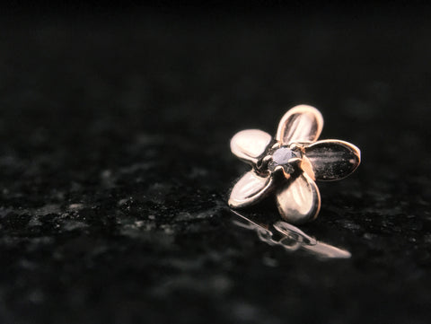 Anatometal Rose Gold Plumeria Threaded End