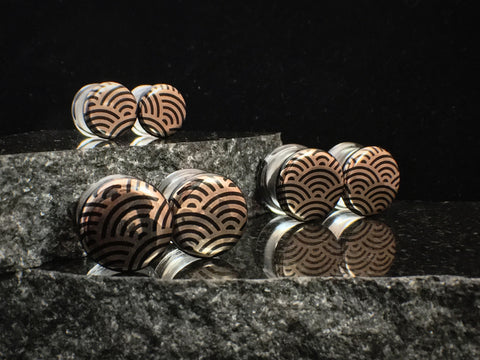 Glasswear Studios Black Japanese Wave Foil Plugs