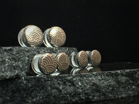 Glasswear Studios Grey Japanese Wave Foil Plugs
