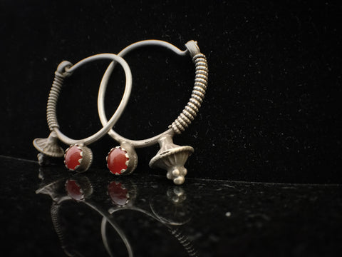 Antique Afghani Silver Poppy Hoops