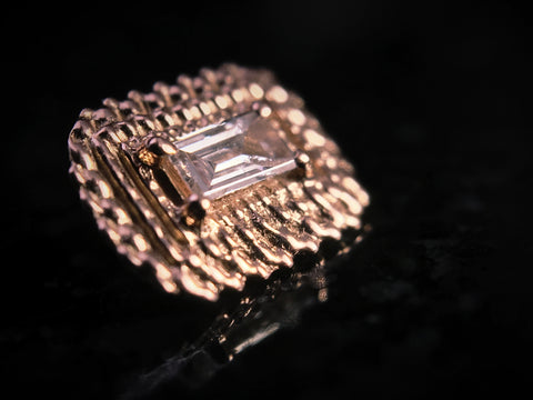 BVLA 18k Rose Gold Baguette Diamond Afghan Threaded End
