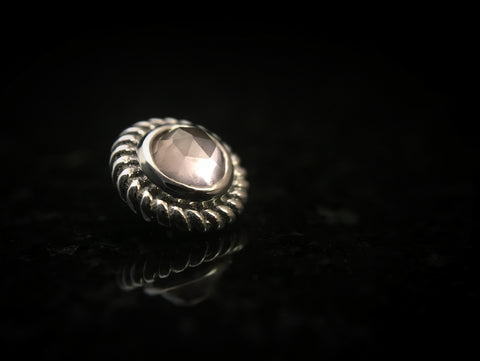 BVLA White Gold Rose Cut Braided Choctaw Threaded End