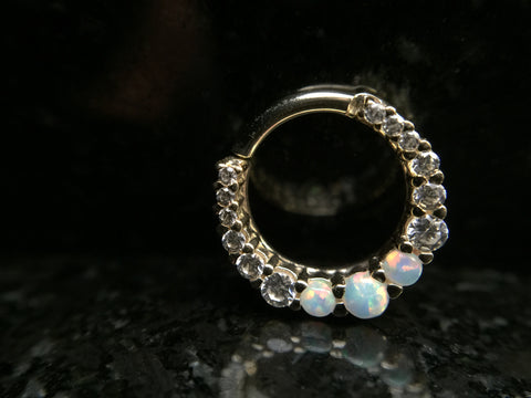 BVLA Yellow Gold Graduating Oaktier Clicker Septum Ring