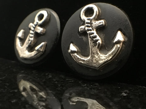 "Modifika 3/4"" Silver Anchor Inlaid Wood Plugs"