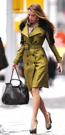 Blake lively green trench coat