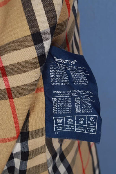 Beige Burberry jacket label material