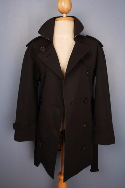 Black Burberry Trench Coat Front Open