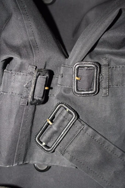 Black Burberry Trench Coat Buckles