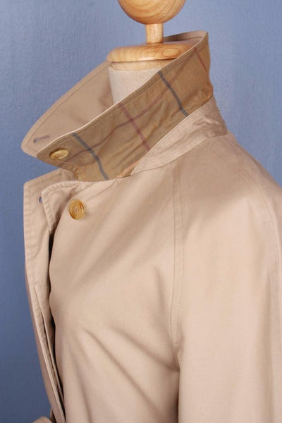 Single beige Burberry trench coat collar side
