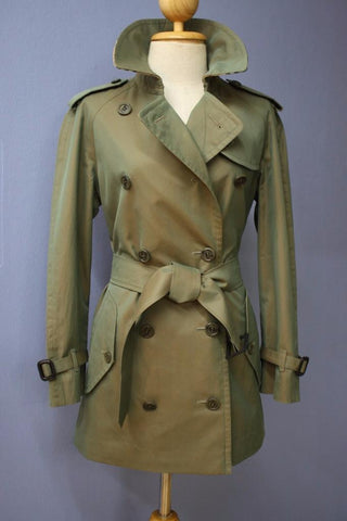 Womens Green Burberry Short Trench Coat Front