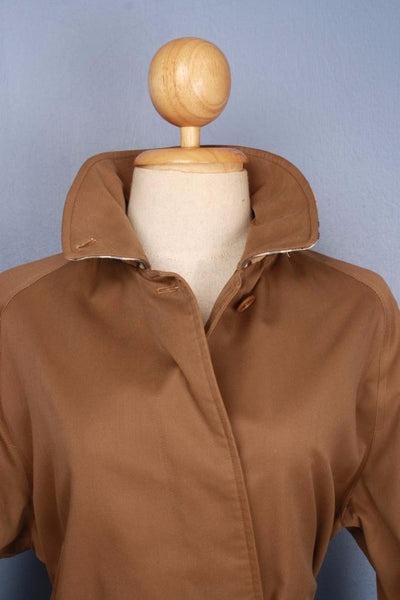 Brown Burberry Short Trench Coat Collar front