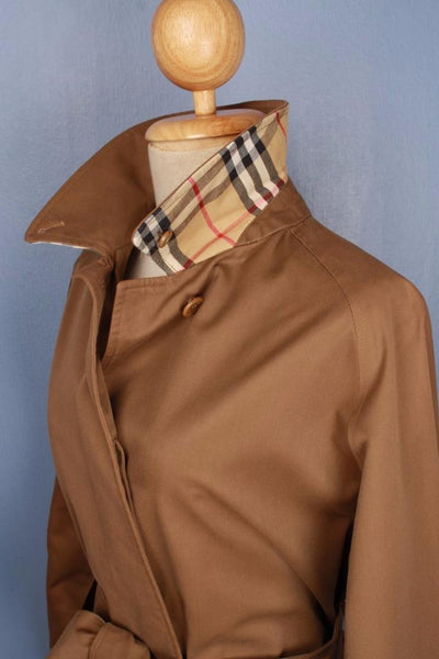 Brown Burberry Short Trench Coat Collar side