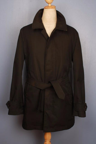 Black Burberry short trench coat Front