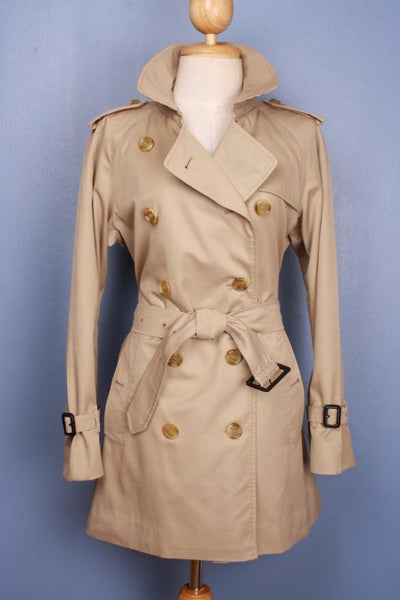 Womens BURBERRY Short TRENCH Coat Mac Beige front