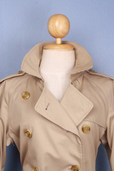 Womens BURBERRY Short TRENCH Coat Mac Beige collar front