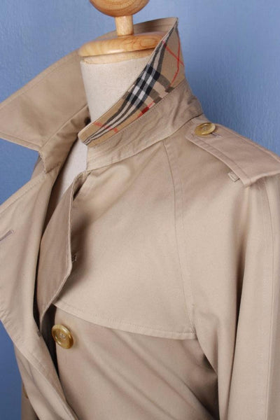 Womens BURBERRY Short TRENCH Coat Mac Beige Collar side