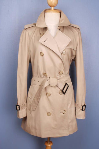 Womens Bespoke BURBERRY Short TRENCH Coat  Beige Front