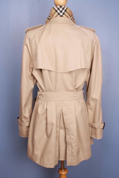 Womens Bespoke BURBERRY Short TRENCH Coat  Beige Back