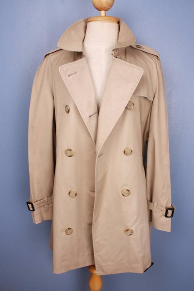 Womens Bespoke BURBERRY Short TRENCH Coat  Beige Front Open
