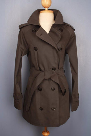 Womens BURBERRY Short TRENCH Coat Mac Brown Front
