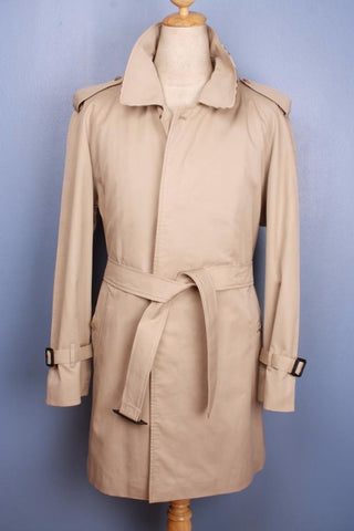 Mens Bespoke BURBERRY Short TRENCH Coat London Beige Front
