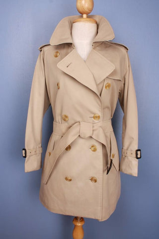 Womens BURBERRY Short TRENCH Coat Beige front