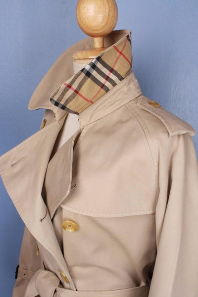 Womens BURBERRY Short TRENCH Coat Beige colalr side