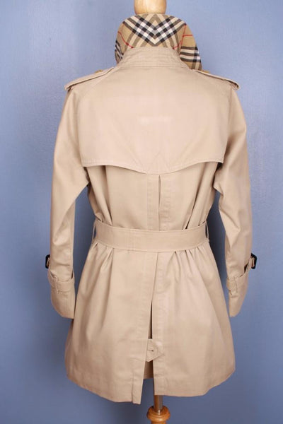 Womens BURBERRY Short TRENCH Coat Beige back