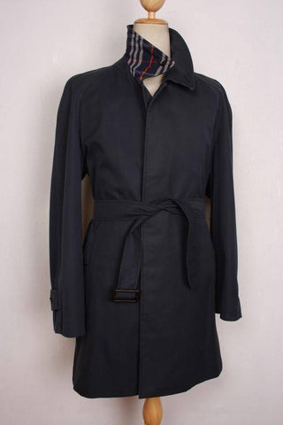Mens Coat - Mens BURBERRY Bespoke Short Belted TRENCH Coat Mac Navy Size UK 44 / 46