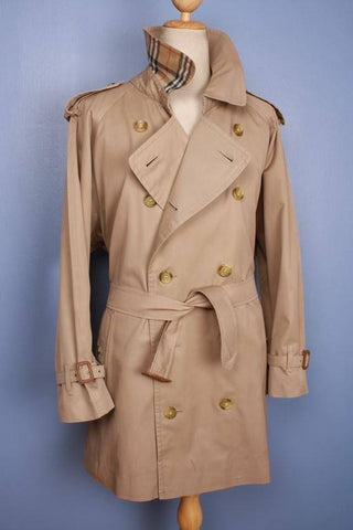 Mens Coat - Mens BURBERRY Bespoke Short Trench Coat Mac Beige - Size UK/USA 46/48 XL