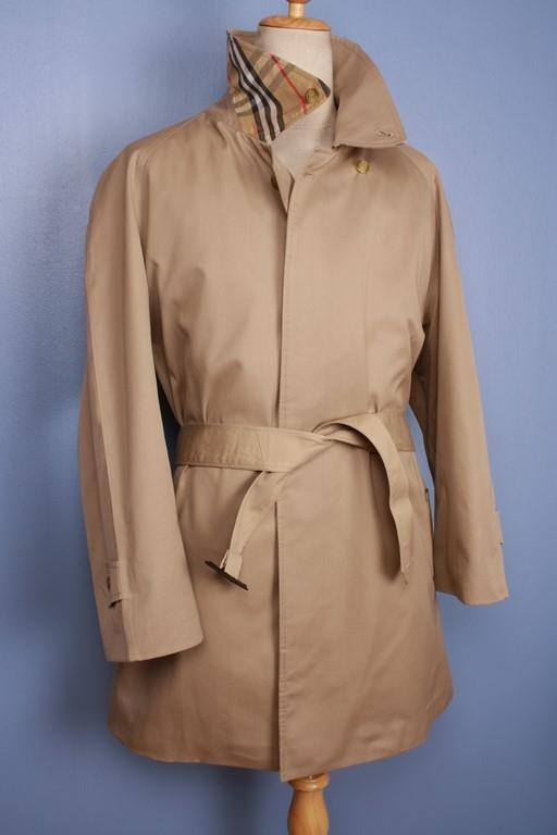 Mens Coat - Mens BURBERRY Bespoke Short Trench Coat Mac Beige - Size UK/USA 48 / 50 XL