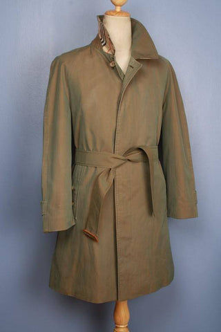 Mens Coat - Mens BURBERRY Bespoke Short Trench Coat Mac Green - Size UK/USA 40/42 M/L