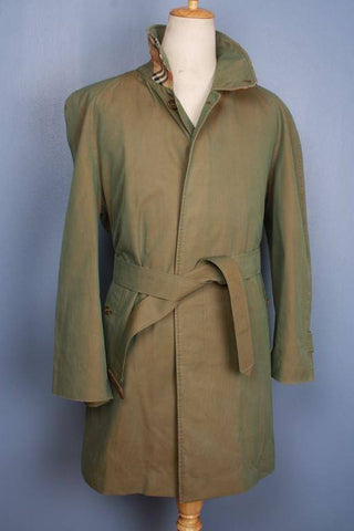 Mens Coat - Mens BURBERRY Bespoke Short TRENCH Coat Mac Green UK/USA 42/44 Large