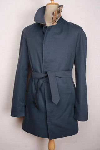Mens Coat - Mens BURBERRY Bespoke Short Trench Coat Mac Navy - Size UK/USA 36 Small