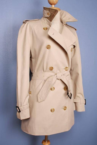 Womens Coat - Womens BURBERRY Bespoke Short Trench Coat Mac Beige - Size UK 12 / 14 Medium/Large