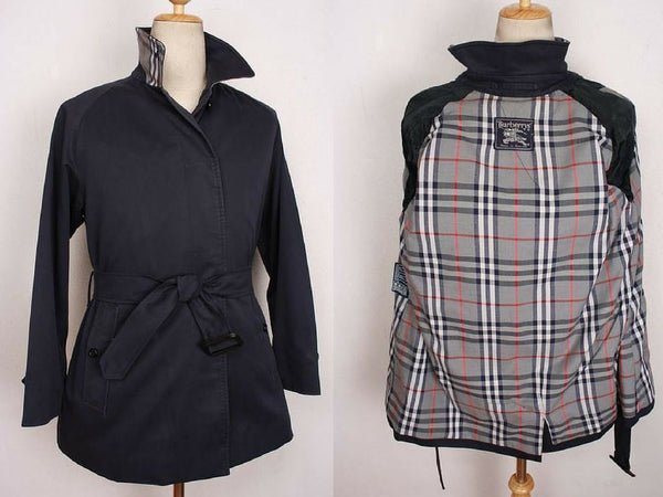 Womens Coat - Womens BURBERRY Bespoke Short Trench Coat Mac Navy - Size UK 12 / 14 Medium