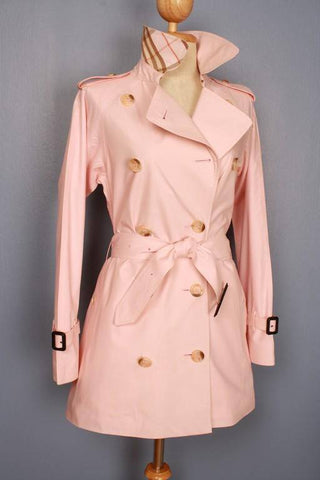 Womens Coat - Womens BURBERRY Bespoke Short Trench Coat Mac PINK -  Size UK 4/6 XS