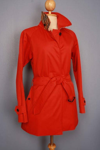 Womens Coat - Womens BURBERRY Bespoke Short Trench Coat Mac Red - Size UK 4/6 XS