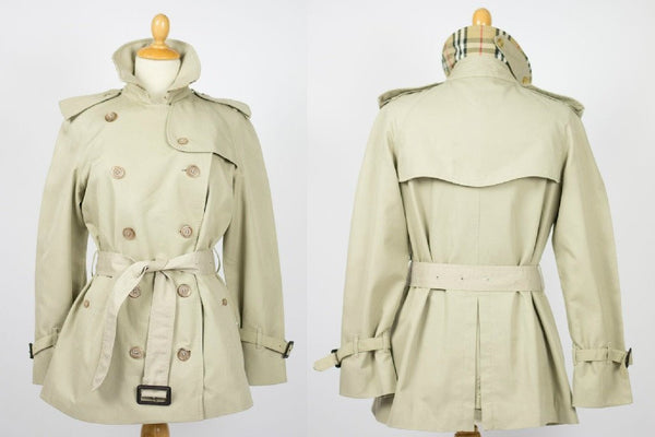 Womens Coat - Womens BURBERRY Bespoke Short Trench Coat Mac - Size UK 8 Small